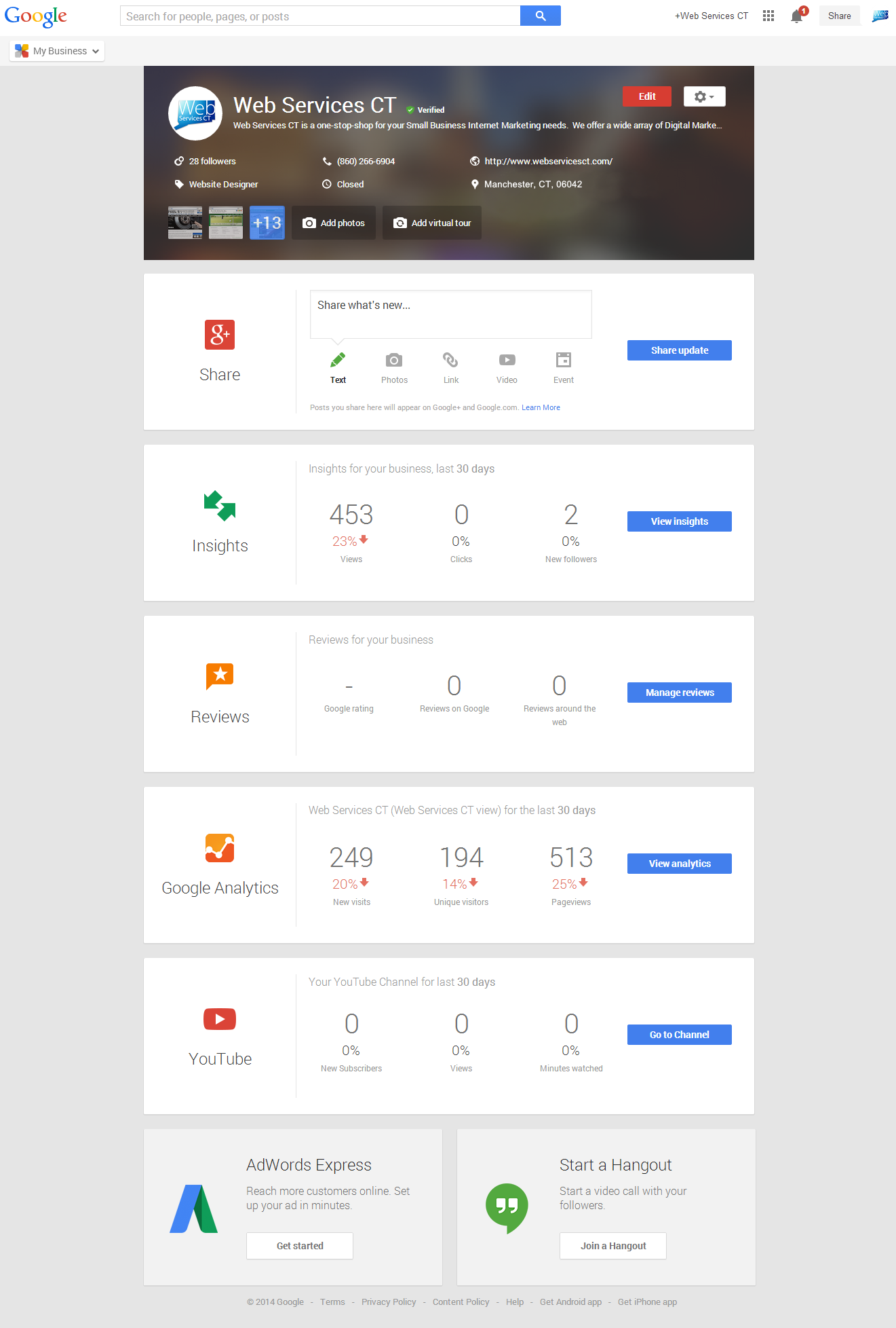 Google My Business Guide - Update Dashboard