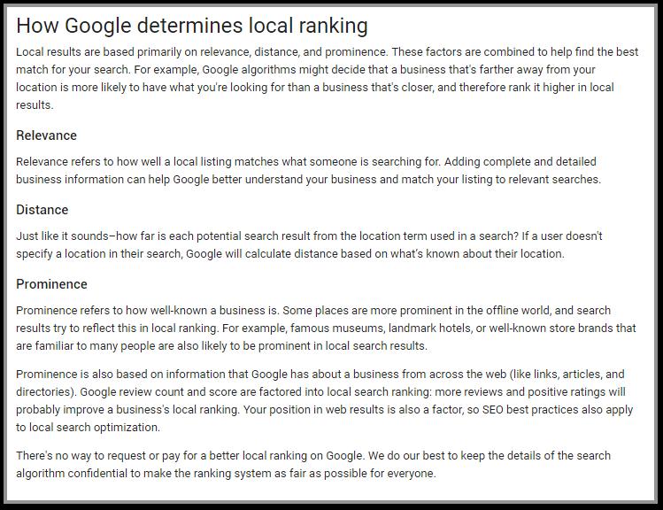 Google Prominence SEO