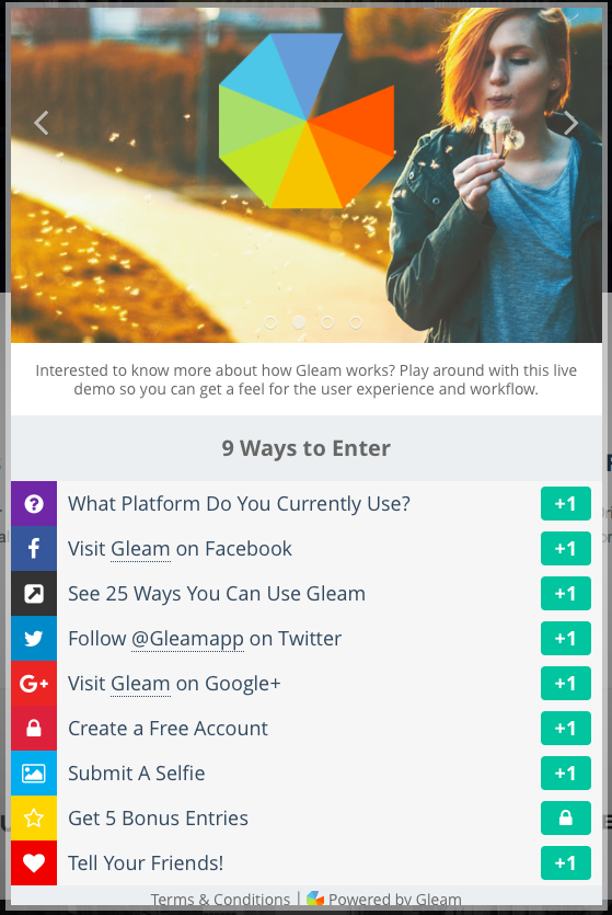 Gleam Contest For SEO